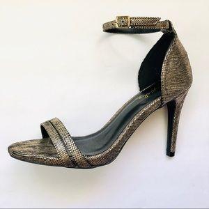 Qupid Bronze Ankle Strap Sandal Heel